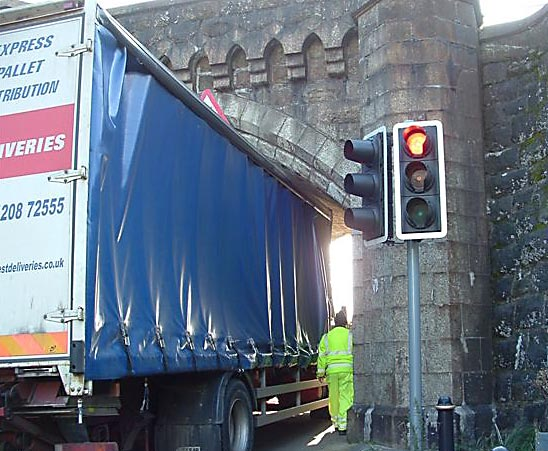 Wedged lorry October 2008