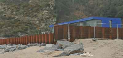 Sea defences and information hut